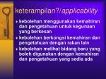 keterampilan applicability