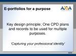 e portfolios for a purpose
