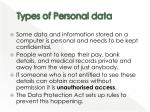 types of personal data