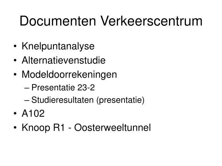 documenten verkeerscentrum n.