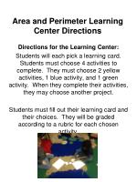 area and perimeter learning center directions