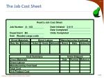 the job cost sheet