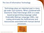the use of information technology