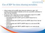 use of xd for data sharing metadata