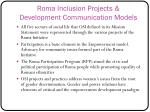 roma inclusion projects development communication models