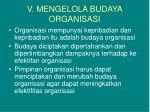 v mengelola budaya organisasi