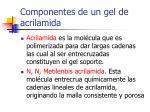 componentes de un gel de acrilamida