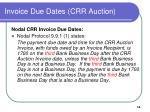 invoice due dates crr auction