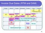 invoice due dates rtm and dam