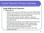 invoice payment timing activities