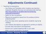 adjustments continued