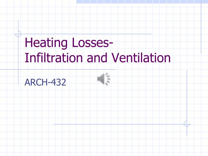 heating losses infiltration and ventilation n.