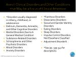 axes i clinical disorders and other conditions that may be a focus of clinical attention
