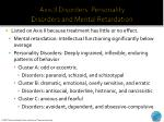 axis ii disorders personality disorders and mental retardation