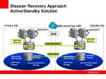 disaster recovery approach active standby solution