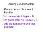 adding event handlers