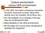 culture environment versus ues environment