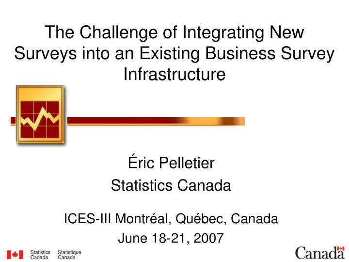 the challenge of integrating new surveys into an existing business survey infrastructure n.