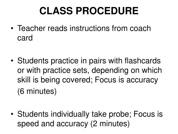 CLASS PROCEDURE