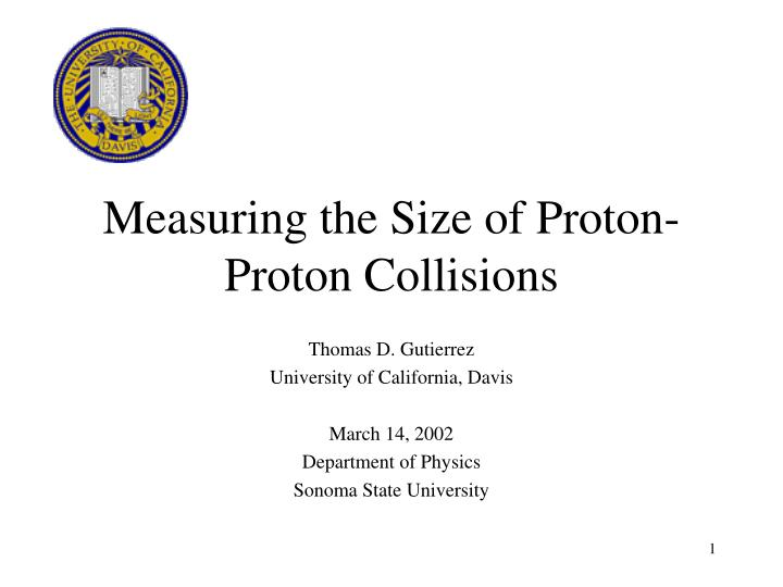 measuring the size of proton proton collisions n.