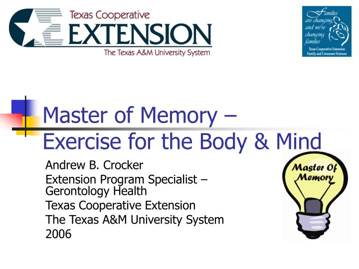 master of memory exercise for the body mind n.