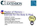 master of memory exercise for the body mind