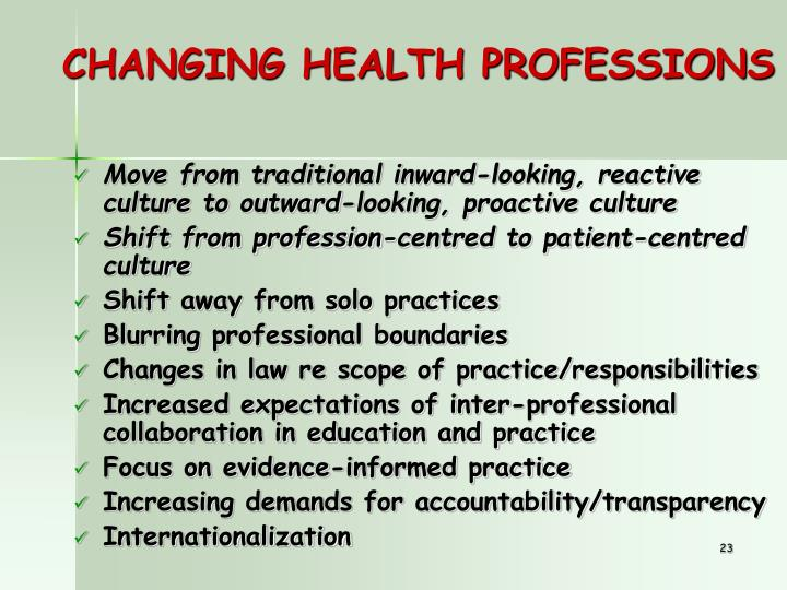 CHANGING HEALTH PROFESSIONS