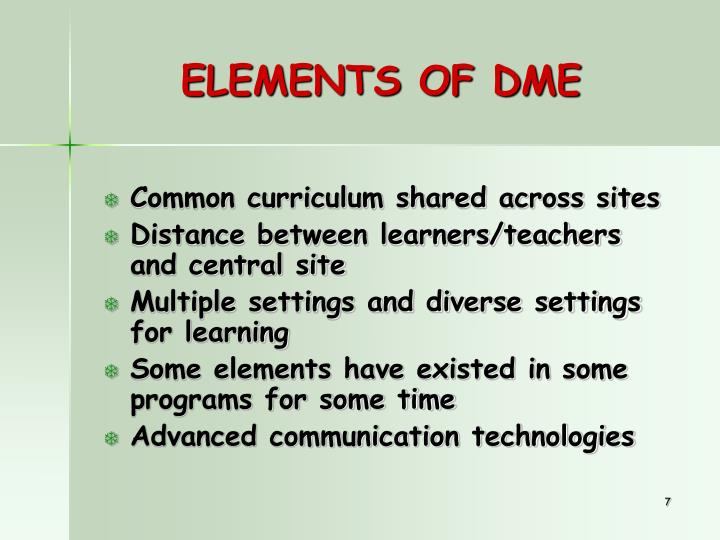 ELEMENTS OF DME