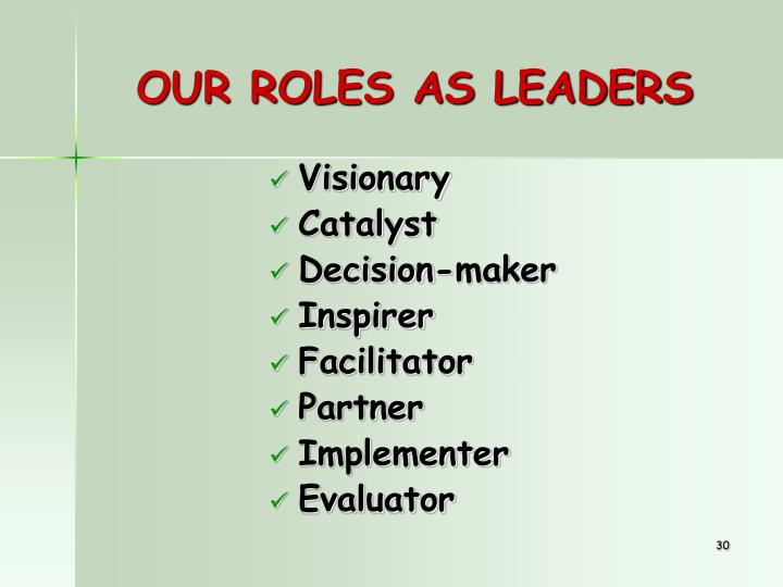 OUR ROLES AS LEADERS