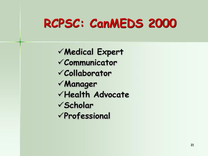 RCPSC: CanMEDS 2000