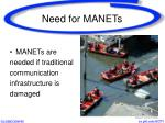 need for manets
