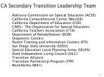 ca secondary transition leadership team