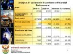 analysis of variance in statement of financial performance