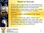 report on accruals