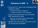 columns in naf 2