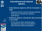 international and national options