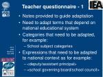 teacher questionnaire 1