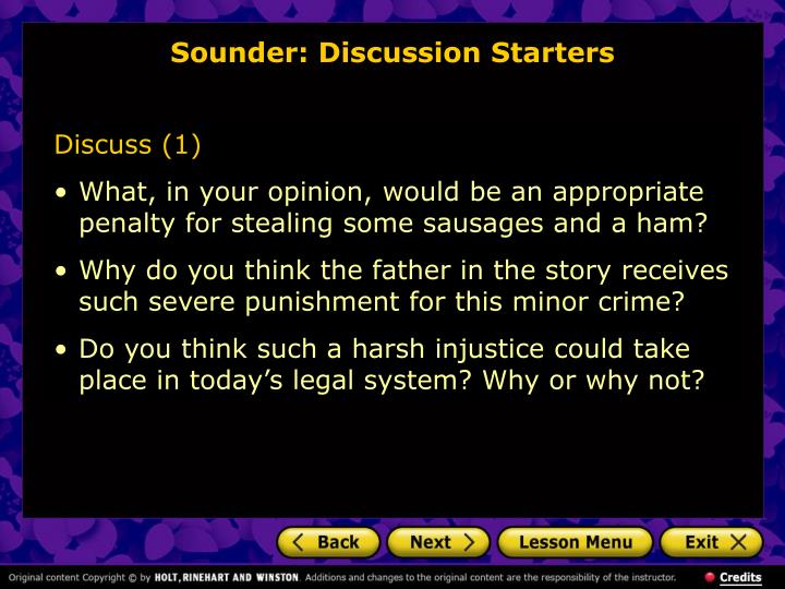 Sounder: Discussion Starters