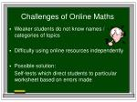 challenges of online maths
