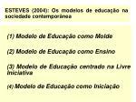 esteves 2004 os modelos de educa o na sociedade contempor nea