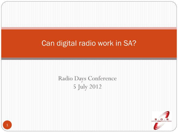 can digital radio work in sa n.