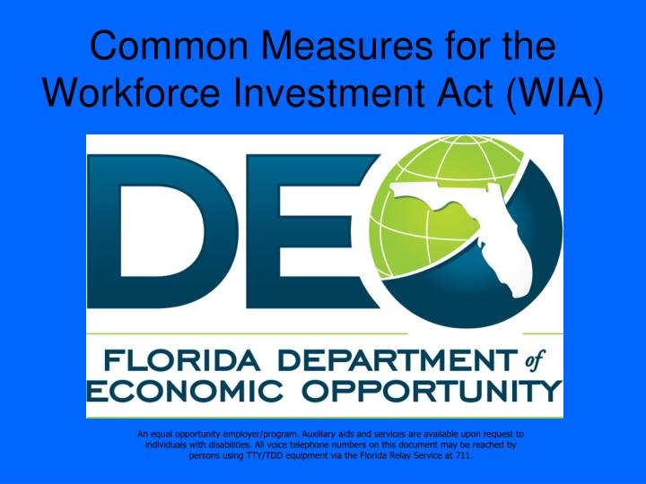common measures for the workforce investment act wia n.