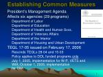 establishing common measures