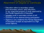 youth and lifelong learning attainment of degree or certificate