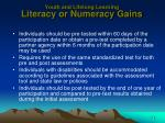 youth and lifelong learning literacy or numeracy gains3