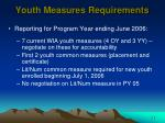 youth measures requirements