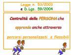 legge n 53 2003 e d lgs 59 2004