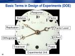 basic terms in design of experiments doe