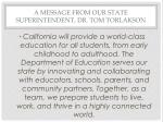 a message from our state superintendent dr tom torlakson
