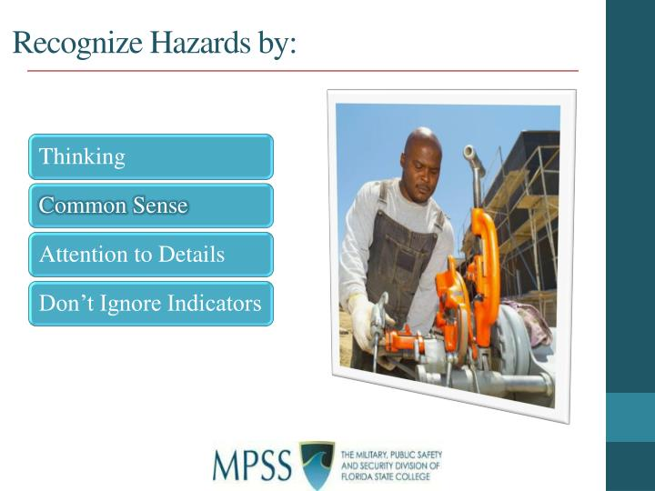 Recognize Hazards by: